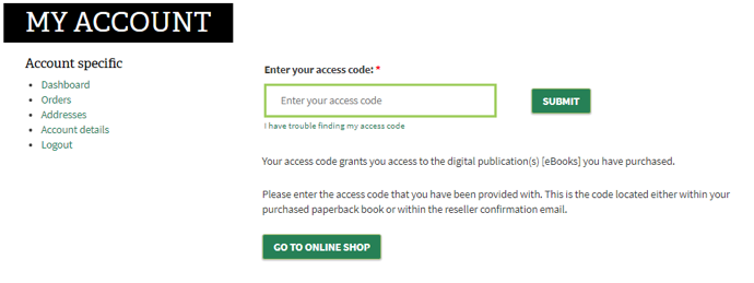 Screenshot of the account section with the access code field